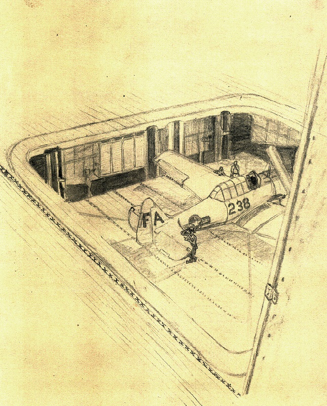 drawing by Lou Ives  SNJ in forward elevator  SNJ in forward elevator – USS Wright (CVL-49)  March 1948