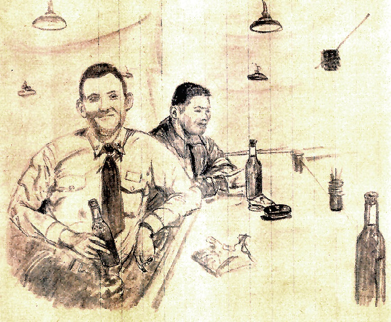 Bob Hensley and Lou Ives drawing by Lou Ives – age 19  ACRAC   NAAS Saufley Field  Pensacola, Florida  1947
