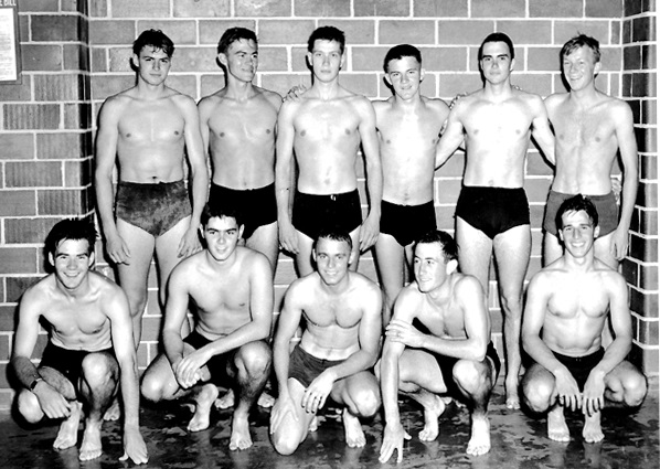 standing (left to right): 	Cadets VanNatter, McClure, Charlie Brown*, Johnnie Lindgren, Ravis, Bob Smyth*  kneeling (left to right):	Cadets Schmitz, Lou Ives* Coble, Buck, Greisen    ( the meet and a 48 hour liberty in the city).    *went AvMid'n December 16, 1946. Got wings June 24, 1948        October 1, 1946