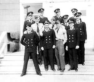 Battalion Number 1	bottom row: 	Doll, Brictson, Killian, and Peterson  	middle row: 	Foster, Liebbrand, Hunt, and Rasmussen  top row: 	Allen, Duncan, Bauermeister, and Hoffman