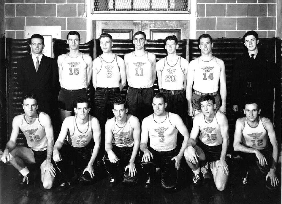 "NAS Pensacola Basketball Team ""The Goslings"" – those I remember:    front row: 	LTjg A. G. Black, enlisted, enlisted, LT, enlisted, and enlisted  back row: 	Coach, LTjg Clayton, Midshipmen Whitten, Petty, and Doll,   and LT Kyle Woodbury"