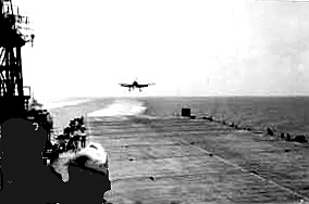 F6F Hellcat ready to land aboard the USS Wright (CVL-49)