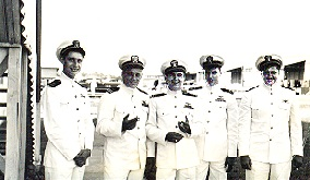 "LTjg Reilly, LT Ben Adams, LTjg Sanderson, XO LCDR Smith and   LTjg  ""Moose"" Donahue"