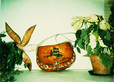 "purse – ""Down to the Sea""  flower pot ""holder"" – leaf surround shallow wire pot  12-25-75"