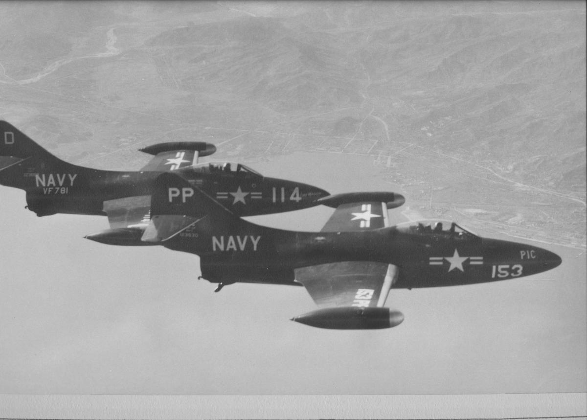 VC-61 F9F-2P photoplane leading VF-781  F9F-2B escort  over North Korea, 1951.  Photoplanes were named 'Life,' 'Look,' and 'Pic,' after popular magazines.