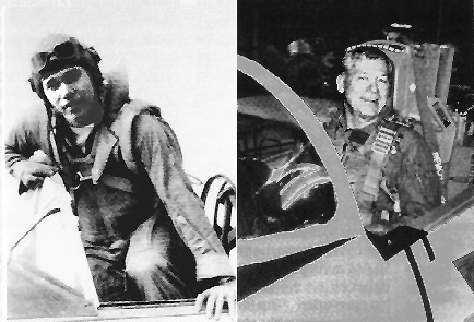 Gillespie in an SNJ-6 at North Whiting Field, Florida, as a midshipman, March 1949; and in November 1997, in a T-2C Buckeye. Gillespie attended the Navy's Test Pilot School at Patuxent River, Maryland, became a civilian test pilot and commanded a Reserve A-4 squadron.