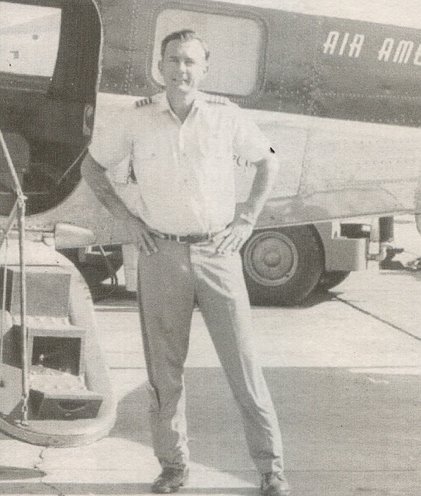 "Frank Bonansinga with ""Night Drop Blue Goose"" B-26 after mission over Laos – 1970s"