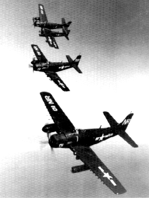 A formation of VC-33 AD Skyraiders on the prowl, 1951. Photo courtesy CAPT Gerald Canaan.