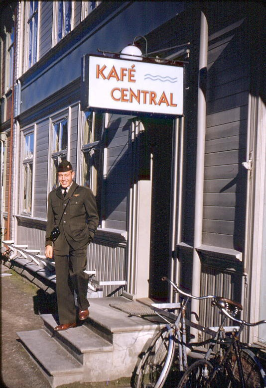 Jess Taft outside of one of the 6 Kafe/Bakeri shops in the town of Levanger, Norway (Population 1400)