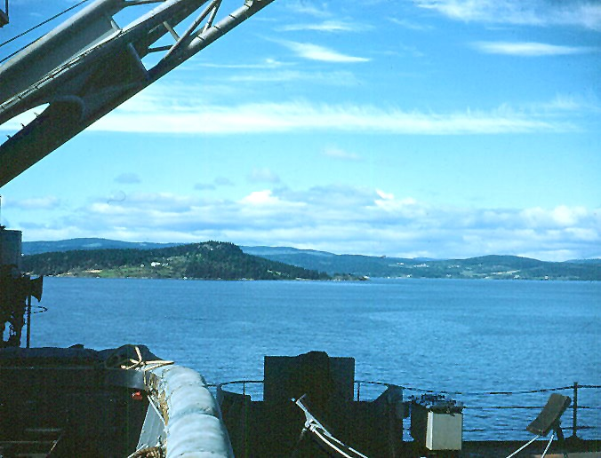 view of Trondheim Fjord from the deck of USS Currituck