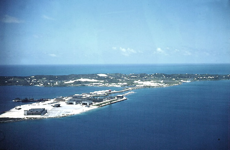 Naval Station Bermuda, 1952, as viewed from a passing PBM