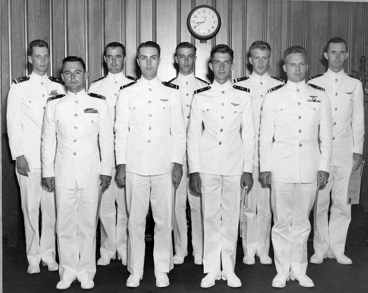 new Naval Aviators get their wings    NAS Corpus Christi, Texas ront row: 	LTjg Gil Gaylor, MIDN Jim Burton, and MIDN Joe Smolinski, and  LTjg (?)    back row:	LTjg (?), LTJG (?), MIDN Hank Otten, ENS Les Mische, and  		MIDN Harley Wilbur            14 September 1949