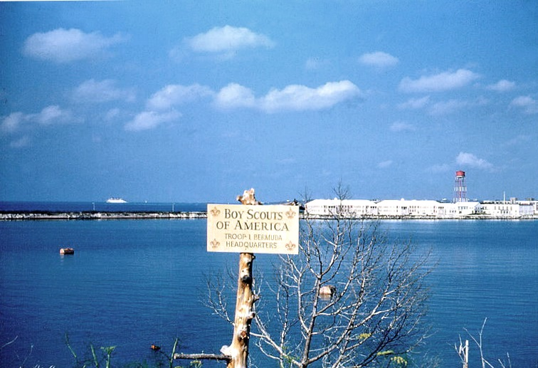Naval Station Bermuda, 1952, as viewed from the Officers' Quarters area.  (note SS Queen of Bermuda in the left background)