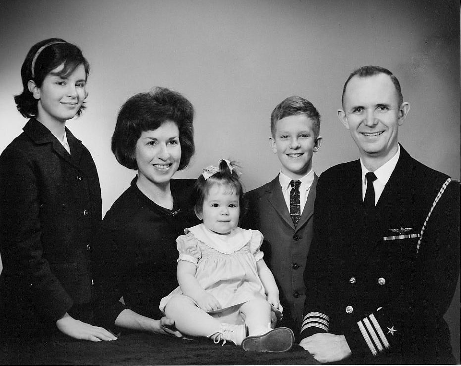 "The Wilbur Family in ""The Land of Ice and Fire""  U. S. Naval Station, Keflavik, Iceland    (while Harley was Aide & Flag Secretary to RADM Ralph Weymouth,   Commander Iceland Defense Force and Commander Fleet Air Keflavik                Kimberly (11), Althea, Gwenan (1), Russell (9), Harley                  1965"