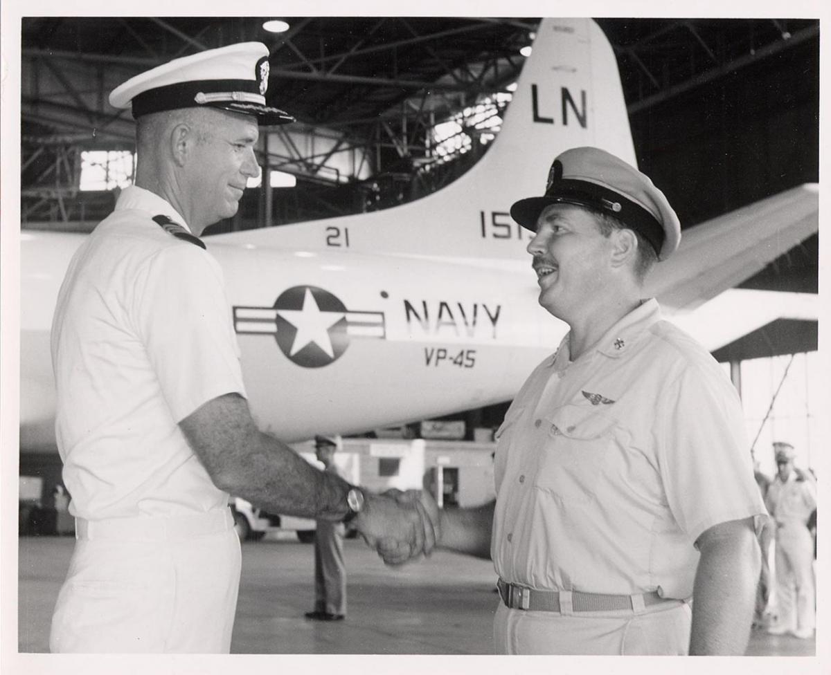 The Skipper says farewell to Senior Chief John Bollinger, his Flight Engineer and Crew Leader during two years of flying the P3A Orion with VP-45                          2 Oct 1968