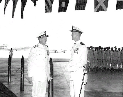 Goodbye to the Fleet!            The Skipper greets RADM Ralph Weymouth USN, Commander Fleet Air Wings, U.S. Atlantic Fleet (COMFAIRWINGSLANT) at VP-45 Change of Command                        2 Oct 1968