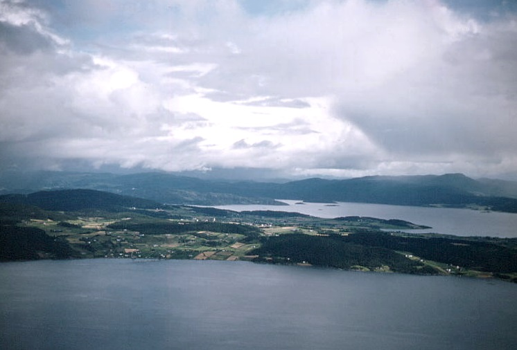 Scene from the air around Trondheim Fjord.