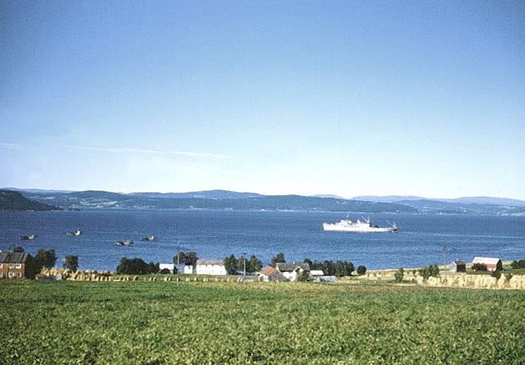Skogn, Norway: USS Currituck and PBMs at anchor