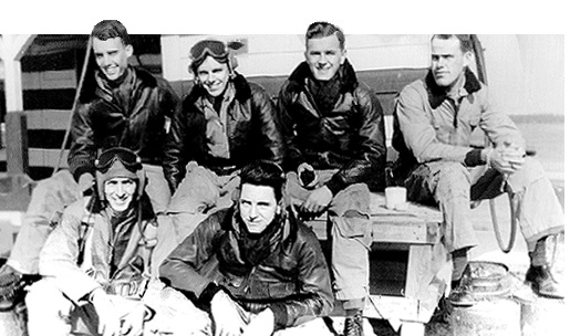 "Flight ""George""    top row (left to right): Rex ""Cod"" Rowell, Wolf (ENS), George Loesch, and Harry ""Honest Joe Dog"" Williamson    bottom row: 		Jim ""Major"" Pilgreen and Jay Proctor"